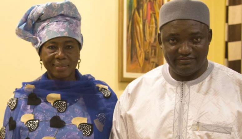 Gambia President Adama Barrow (right) and Isatou Touray. Photo: Flickr