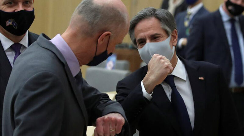 U.S. Secretary of State Antony Blinken bumps elbows with Netherland's Foreign Minister Stef Blok