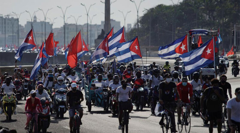 People protesting in Havana, Cuba