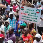 Nigerian union members protest over possible minimum wage change