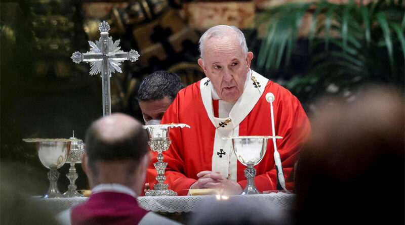 Pope Francis holds a mass on Palm Sunday