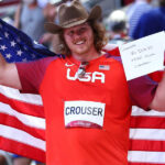 Olympics-Giants fall, Crouser sets record, elbows in open water