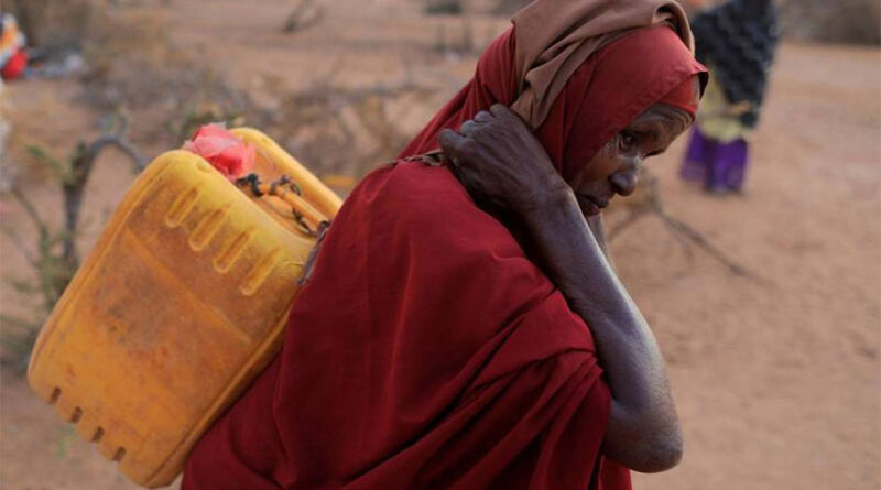 Woman carries jerrycan of water